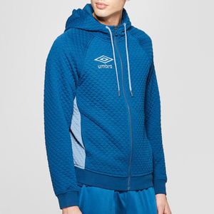 Umbro Men's Blue Quilted Fleece Full Zip Hoodie
